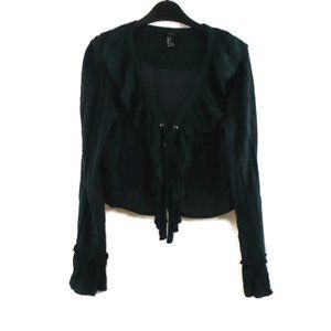 F21 Ruffle Shirt L Blue Laced Front Cropped